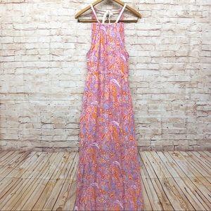 Altar'd State Dress Maxi Halter Tie Neck Floral